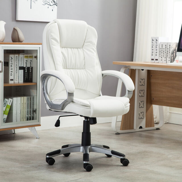 Ordinaire White Faux Leather Modern Executive Computer Conference Desk Office Task  Chair