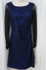 Tahari ASL Dress Sz 2 Black Royal Blue Pauline Mesh Long Sleeve Cocktail Career