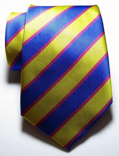 New Classic Striped Blue Gold Rose JACQUARD WOVEN 100/% Silk Men/'s Tie Necktie