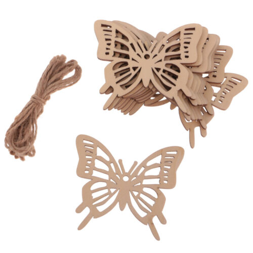 10x Wood Butterfly Gift Tags Ornament Embellishment Hanging Decor w// String