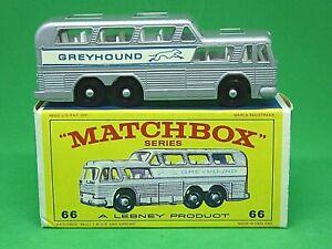Matchbox-Lesney-No-66c-GMC-greyound-Bus-raro-ventanas-claras