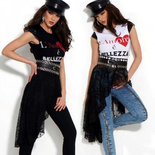 By Alina Mexton Damen T-Shirt Bluse Spitze Longtop Tunika Print Gürtel XS-M
