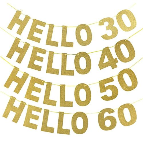 Gold Happy Birthday Bunting Banner Party Decoration Flag Hello 30//40//50//60th