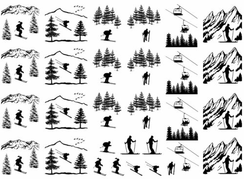 "Ski Skier Skiing Slopes Snow 5/""X7/"" Card Black Fused Glass Decals 16CC720"