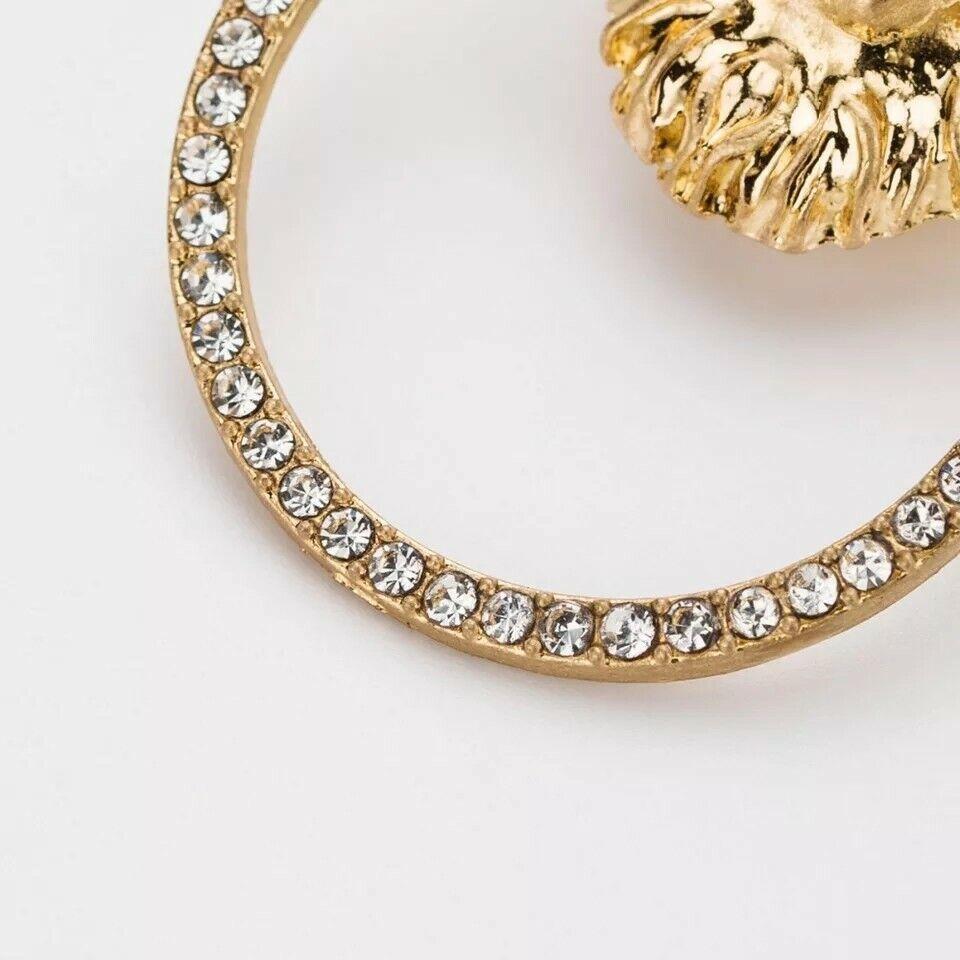 Gold Rhinestone Lion Head Pendant Doorknocker Fashion J
