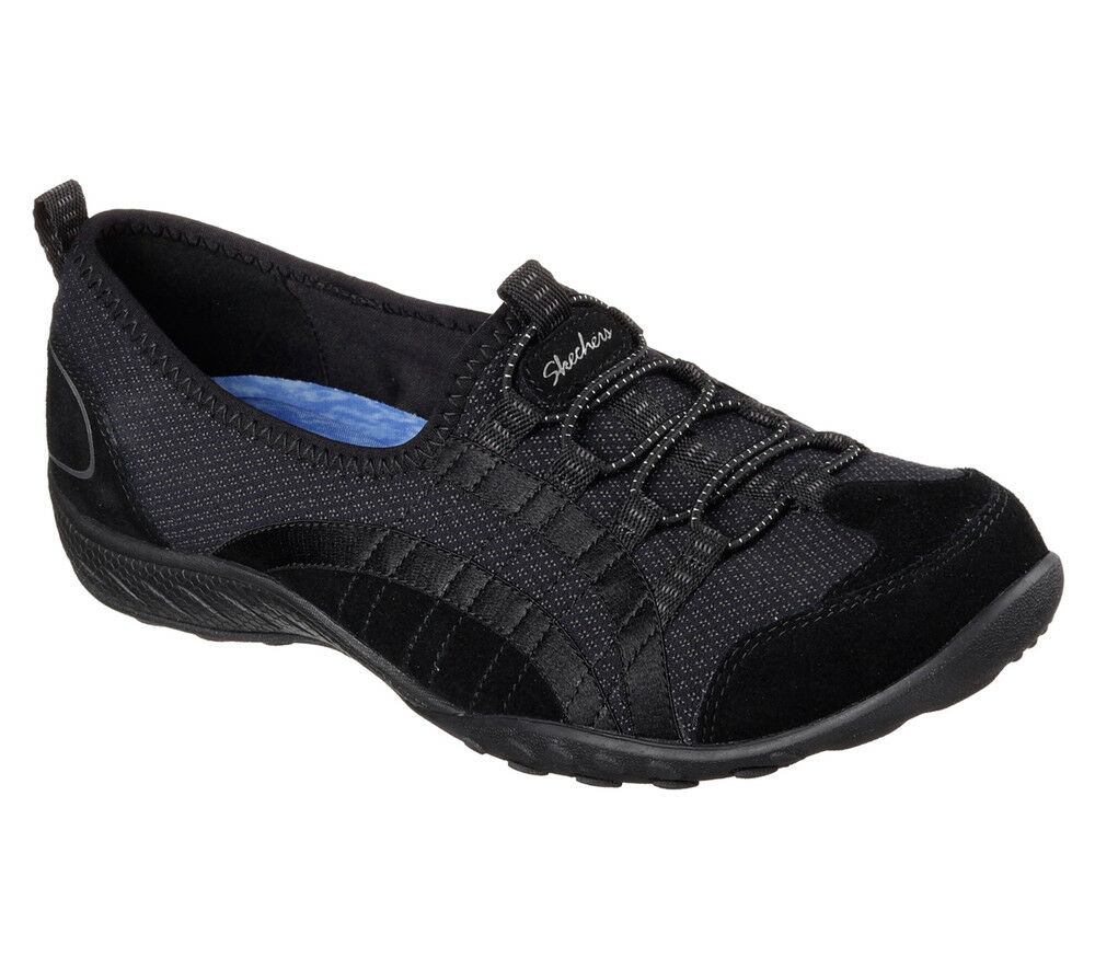 NUOVO Skechers da donna Scarpe da Ginnastica Turn Scarpa MEMORY FOAM Breathe-Easy Quick-Wit Nero