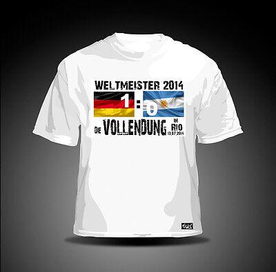 """DEUTSCHLAND FAN T-SHIRT """"Die Vollendung in Rio"""" weiß WELTMEISTER 2014 EM WM"""