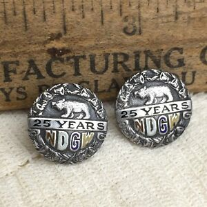 Vintage-NDGW-25-Years-Silver-Lapel-Pins-Native-Daughters-Golden-West-Calif-Bear