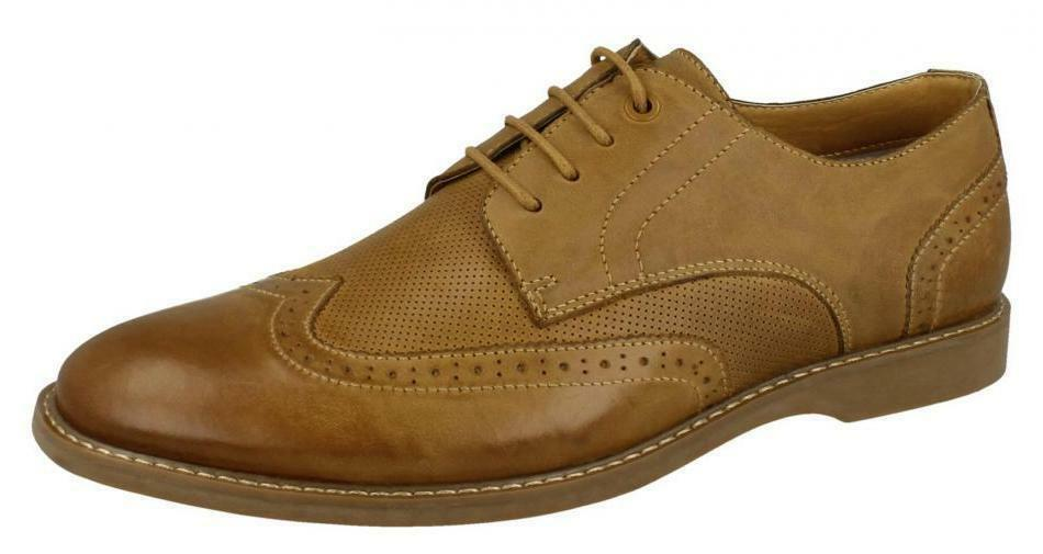 THOMAS blueNT A2141 MENS TAN LEATHER BROGUES LACE UP SHOES