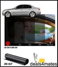 WINDOW TINT FILM TINTING LIMO ULTRA SUPER DARK BLACK 3% 50x300CM