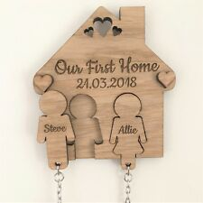 PERSONALISED WOODEN OUR FIRST HOME KEY RING WALL HOLDER PLAQUE HOUSE WARMING