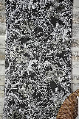 1 DOUBLE ROLL York Wallcoverings White Black Metallic Silver Nature Leaves