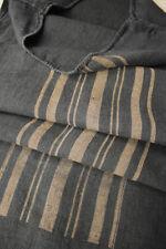 Striped Grain Sack Black Linen GRAINSACK w/ caramel printed stripes 19th century