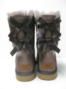 4f0fb7d98ff Details about UGG BAILEY BOW II WOMEN SHORT BOOTS SUEDE STORMY GREY US 11  /UK 9.5 /EU 42