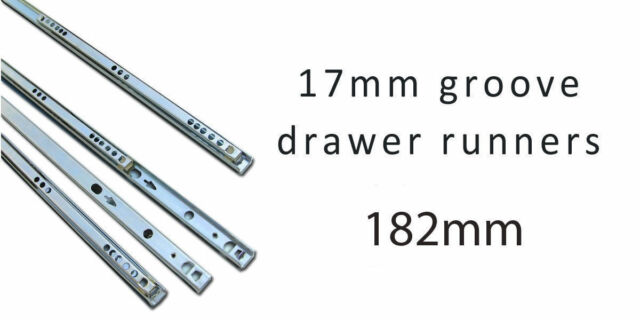 Drawer Slides Runners 17mm Grooved drawer ball bearing runners 182mm 5 pairs