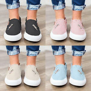 US-Womens-Denim-Canvas-Loafers-Pumps-Casual-Slip-On-Flat-Trainers-Sneakers-Shoes