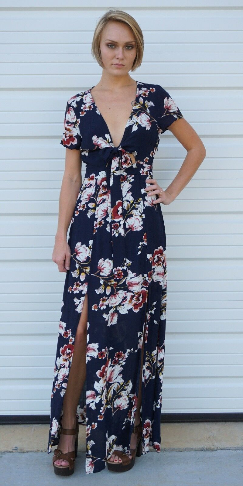 Navy Double Slit Floral Maxi Dress   Tie Front S M Cotton Candy CD79461