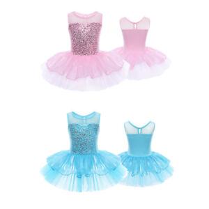 Maillot-de-Ballet-Danza-Vestido-de-Princesa-con-Lentejuelas-para-Nina-Tutu-NUEVO
