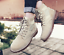 thumbnail 5 - Mens Fashion Riding Boots High Top Lace Up Round Toes Solid Autumn Ankle Booties