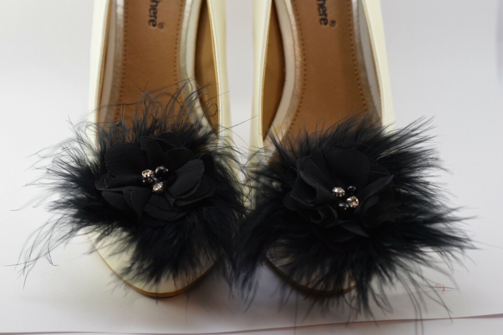 Handmade Shoe Clips Wedding Puff Marabou Black Feather Flower Rhinestone