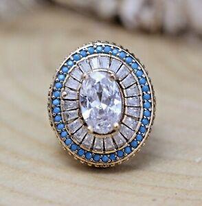 925-Sterling-Silver-Handmade-Antique-Turkish-Zircon-Ladies-Ring-Size-6-12
