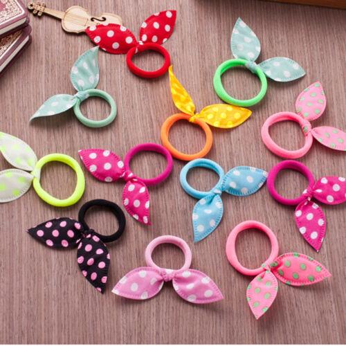 10X Rabbit Ears Hair Holders Hair Accessories Child Girl Women Rubber HairBandQP
