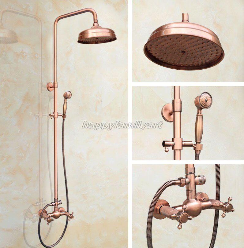 Antique Rouge Cuivre Laiton Salle de bains douche de pluie Robinet Set de bain mélangeur robinets yrg521