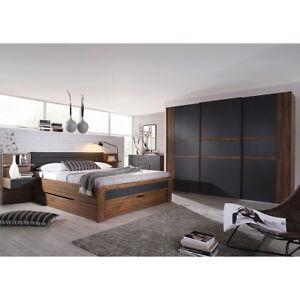 Schlafzimmer Set 3 Bernau Bett Nako Kleiderschrank Eiche Stirling