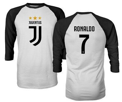 buy online 4d7e0 22994 Soccer Shirt #7 Ronaldo CR7 Cristiano Juve Men's Quarter Sleeve Raglan  T-Shirt | eBay