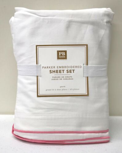 NEW Pottery Barn TEEN Parker Embroidered Sateen QUEEN Sheet Set, PRISM PINK
