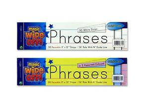 60 Wipe-Off Handwriting Strips 12-Inch - 30 x White & 30 x Multicoloured