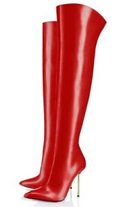 Gold Leather Couture Stivali Rosso Overknee Custom Stivali 42 Rosso Stiefel Zip Cq wxt8gRYqH