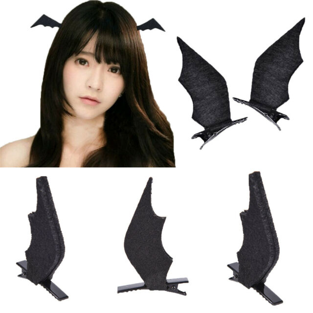 1 pair bat wings hair clip cosplay halloween dress up costume accessories black