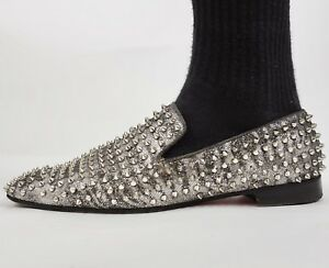 873d890dbb4 Mens sz 46  13 Christian Louboutin studded silver loafers shoes ...