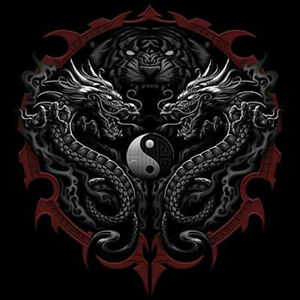 Asian Tattoo T Shirt Tiger Dragons Ying Yang Tee Ebay