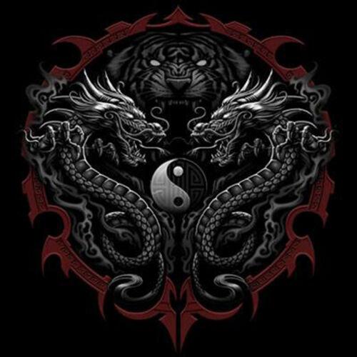 Asian Tattoo T-Shirt Tiger Dragons Ying Yang Tee