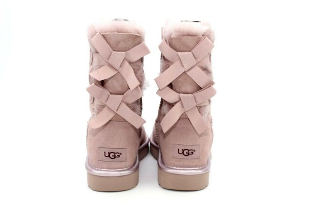 a330c0543be UGG Australia BOOTS Size 7 Bailey Bow II Metallic Dusk Color Suede Sheepskin