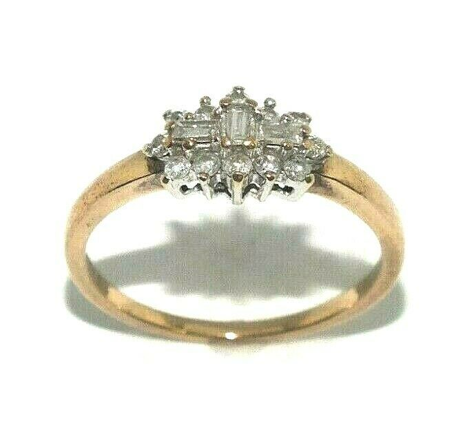 Ladies Womens 9ct Yellow Gold Ring Set With A Plethora Of Diamonds Uk Size Q 1 2 Ebay