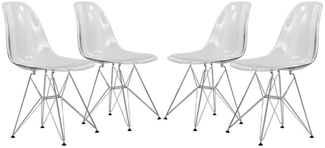 Surprising Leisuremood Cresco Molded Eiffel Base Side Dining Chair In Clear Set Of 4 Pabps2019 Chair Design Images Pabps2019Com