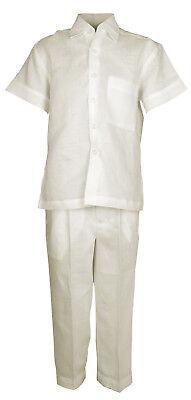 Infant Ivory 100/% Linen Set Guayabera One Pocket Shirt /& Pant Sizes 12M to 24M