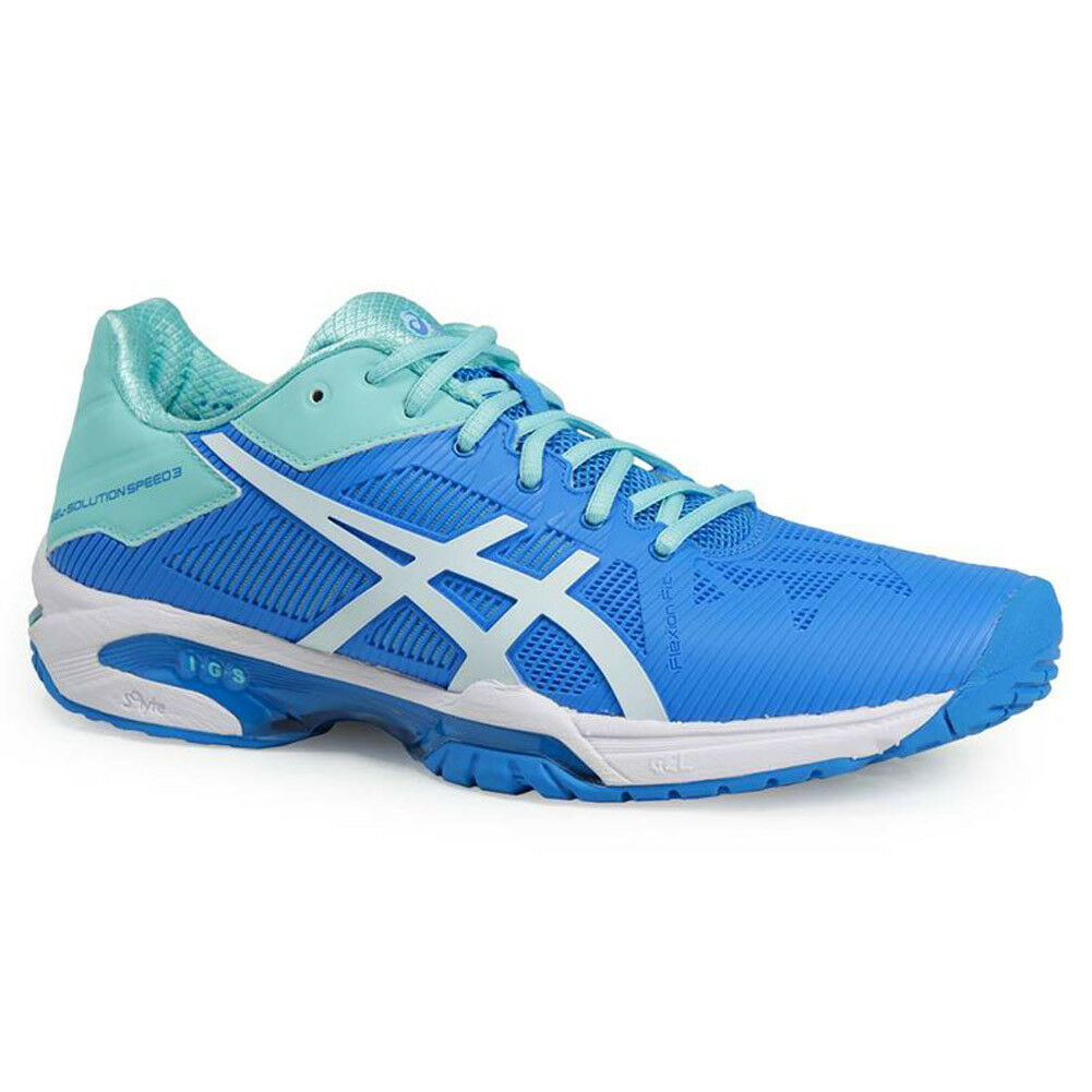 NEW WOMEN'S ASICS GEL-SOLUTION SPEED 3 (6701  AQUA SPLASH WHITE) TENNIS SHOES.