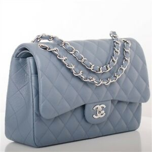 Image Is Loading Chanel Grey Blue Quilted Caviar Leather Jumbo Double