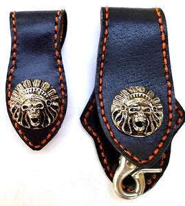 Biker-Skull-Indian-Trucker-Handmade-Leather-Orange-Stitch-Keychain-Key-Holder