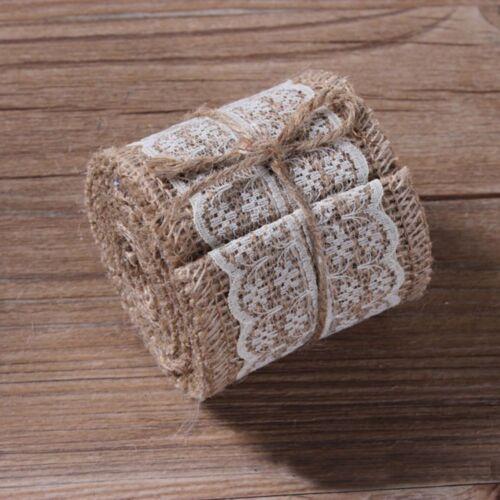 Craft Lace Edged Ribbons Rural Burlap Trims Tape Natural Jute Hessian Roll