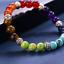 miniature 7 - 7 Chakra Healing Tiger Eye Natural Stone Yoga Energy Beads Bracelet Jewelry Hot