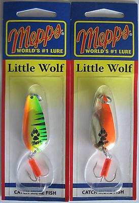 Mepps Little Wolf Spoon - Gold//Hot Orange /& Firetiger 2 Pks 1//4 oz
