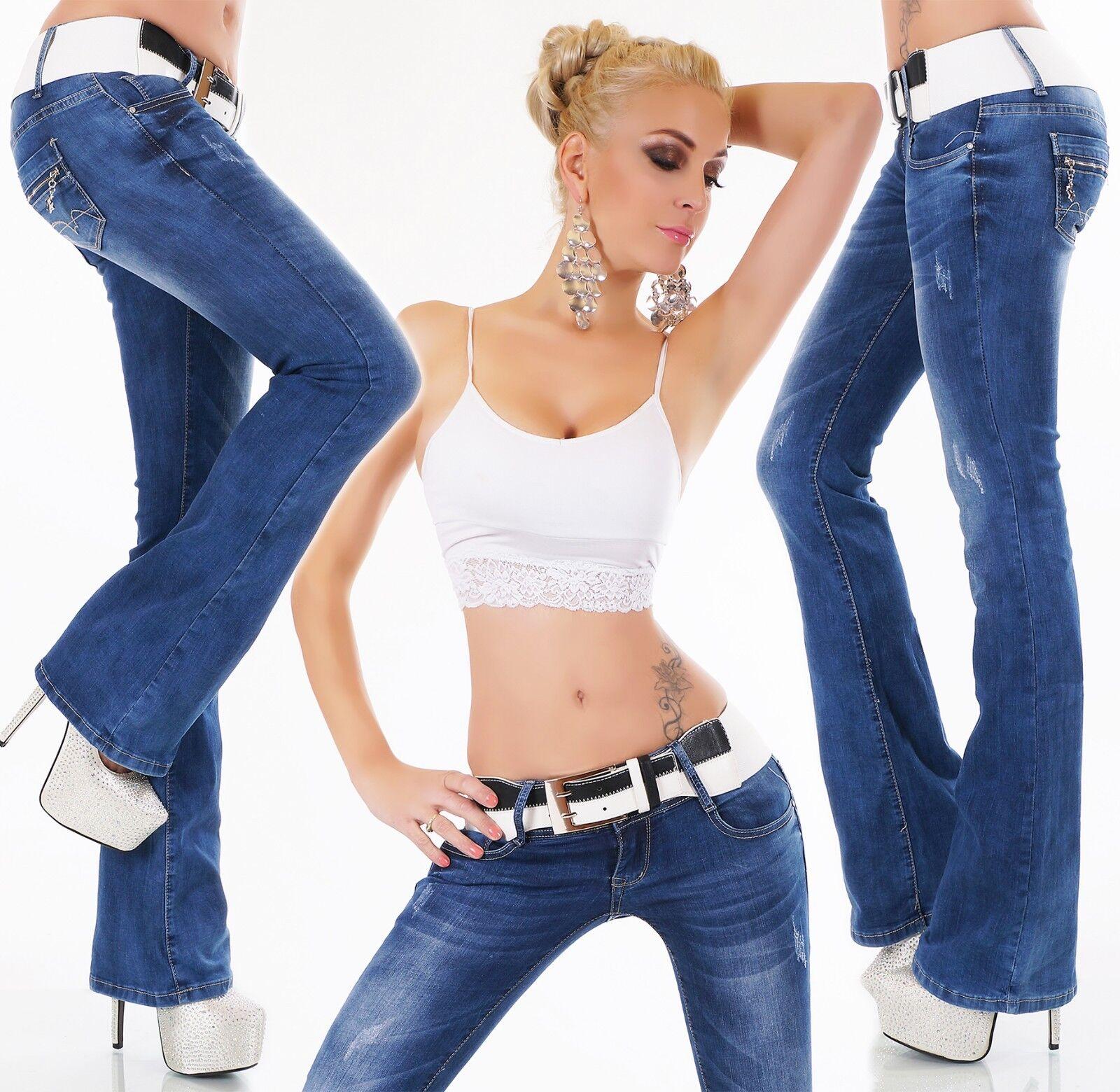 Jeans Bootcut Pattes D'Éléphant Pantalon Publié Jean blue Stretch Ceinture
