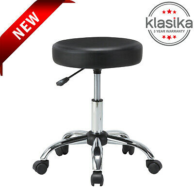 KLASIKA Rolling Stool Chair with Adjustable Height and PU Leather Backrest Home