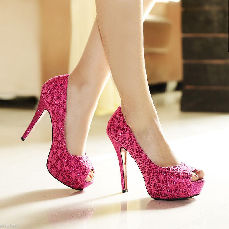 Zapatos Zapatos de salón tipo encaje talón tacón de aguja 11,8 cm rosa magenta