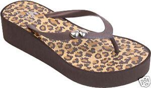3d4f8a523  35 NOMAD Empress Thongs Flip Flops ~ NEW ~ Brown Leopard ~ Size 7 ...